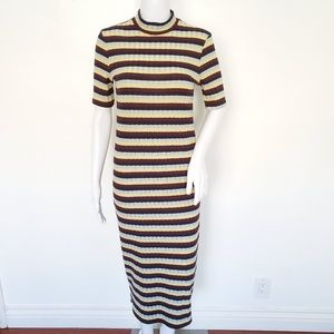 Zara Striped Mockneck Short Sleeve Midi Dress M